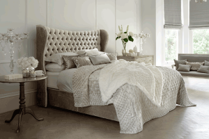 french fabric bed