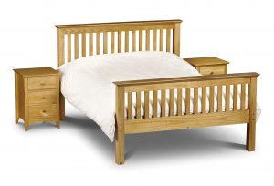 Modern Pine Bed With Bed Side Cabinet